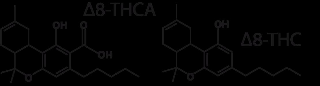 Figure 6: Δ8-THCA and Δ8-THC molecules.